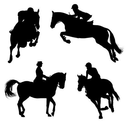 silueta ciclista: Cuatro siluetas de caballo y jinete durante eventos ecuestres