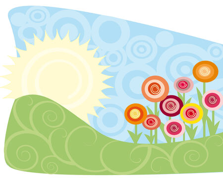 Vector illustration of an idyllic sunny meadow Vector