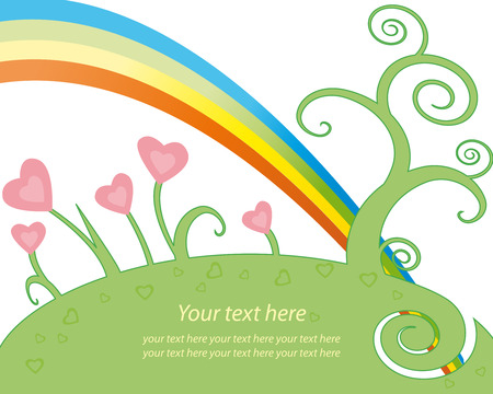 Garden with a rainbow on Valentine Day Vector