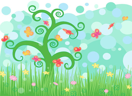 Landscape with summer flowers, butterfly Stock Vector - 6450543