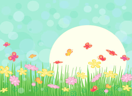 Spring sunny landscape with flowers and butterfly Illustration