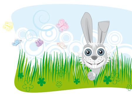 Cute bunny peeking through the grass Vector
