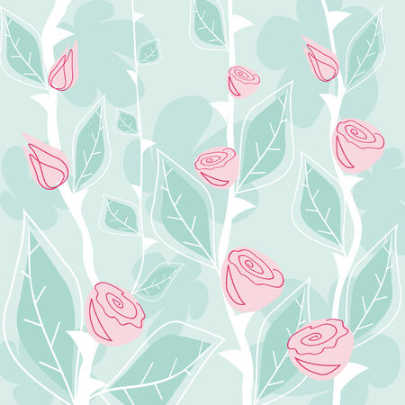 Pink roses on a blue background Vector