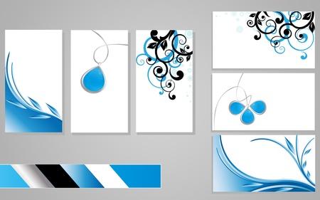 carte de visite vierge: cartes de visite, bleu Illustration