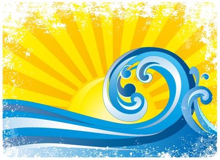 surf silhouettes: Alba, onde surf  Vettoriali