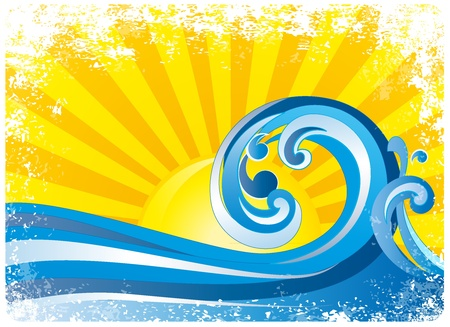 sunrise, surfing waves  Vector