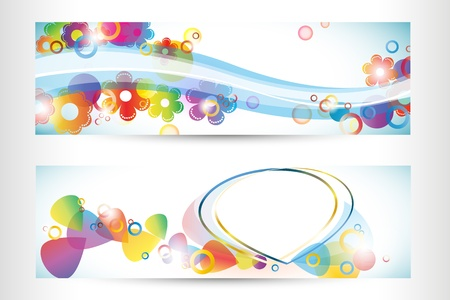 two color banners, abstract vector Vector