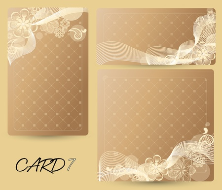 card with a floral background of various sizes Vector