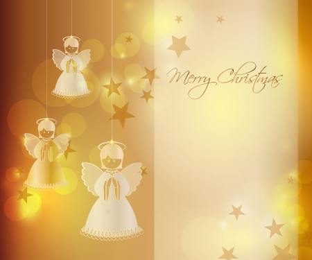 Merry Christmas background with an angel Stock Vector - 10841671