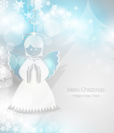 angel girl: Merry Christmas background with an angel Illustration