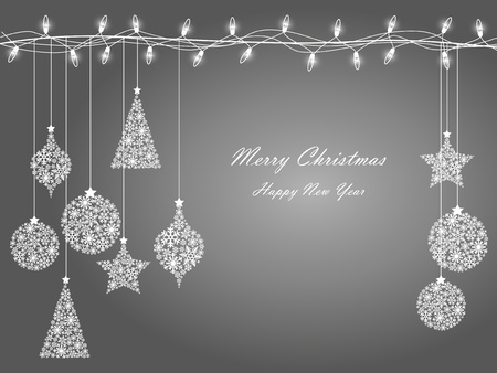 silver christmas: Background of Christmas lights  Illustration