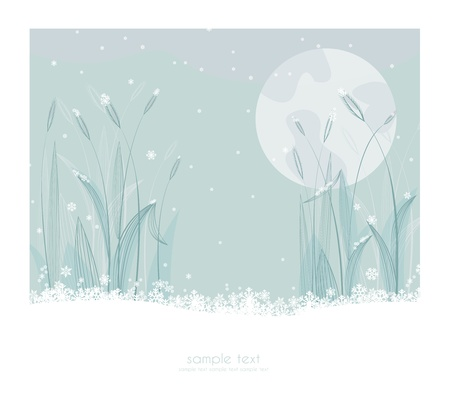 First snow in the landscape Vector