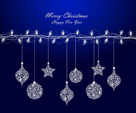 Background of Christmas lights with decorations Vector