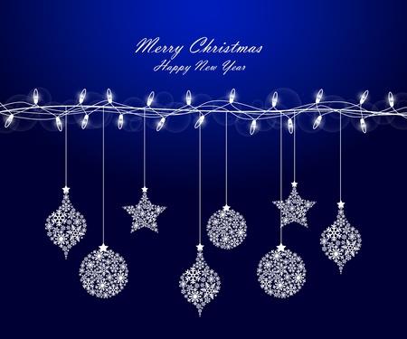 Contexte de lumières de Noël avec des décorations Vecteurs