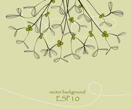 Background with mistletoe, vector illustration Vector