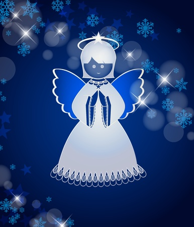 blue background with an angel Vector