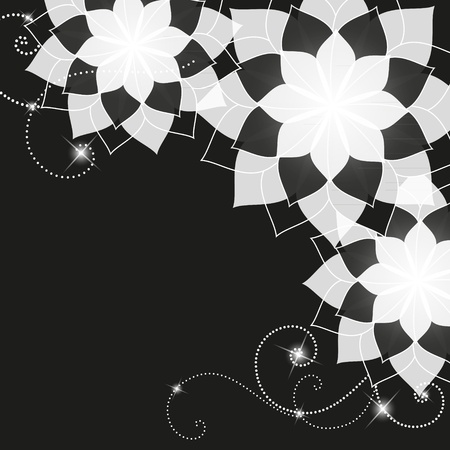black and white floral background Stock Vector - 11429957