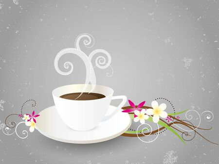 coffee background with flowers Stock Vector - 11661057