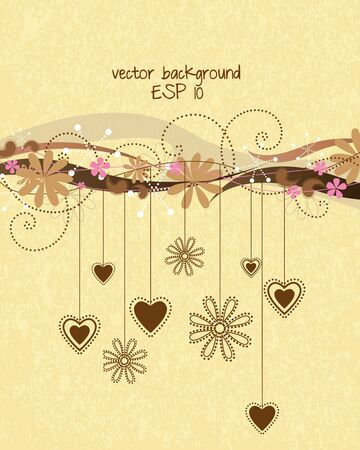Decorative floral background with hearts Vector
