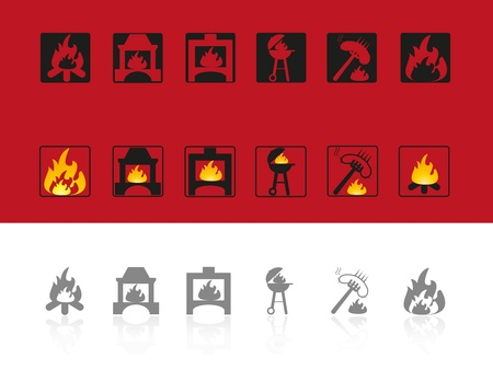 fireplace: Set of icons for use of fire Illustration
