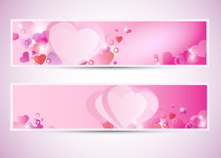wedding backdrop: Two Valentines cards or banners Illustration