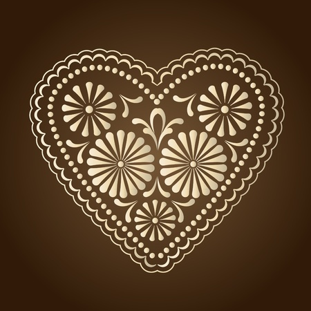 decorated with hearts on a brown background Vector