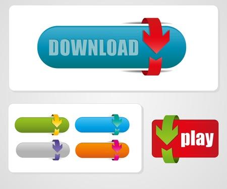 download button: arrow button more color set.