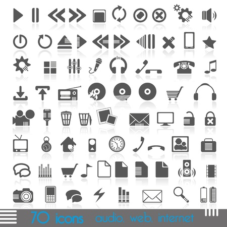 icons for web, audio, Internet Vector