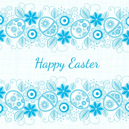 blue background Easter motif. Vector