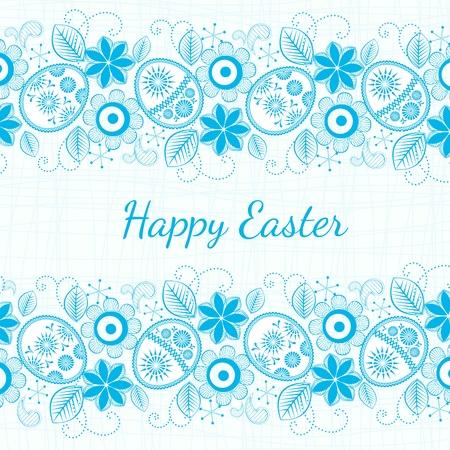 easter sign: blue background Easter motif. Illustration