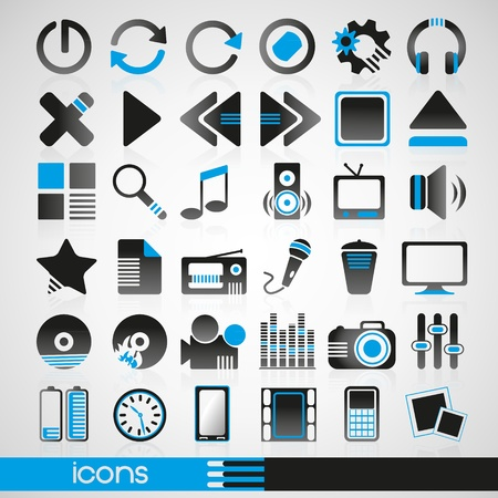 Set of icons for audio and Internet Vector