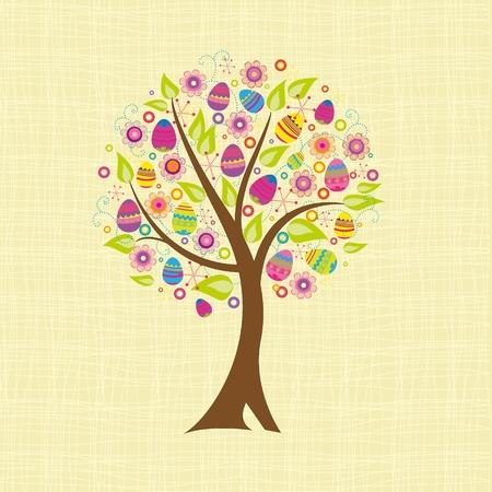 arbol de pascua: árbol abstracto con huevos de Pascua Vectores