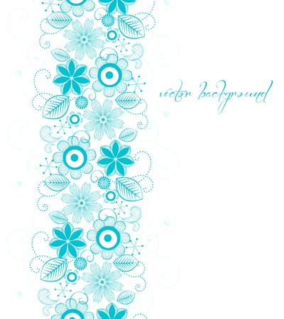 blue floral decoration with space for text Vector