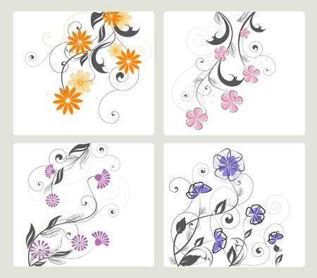 flower tattoo: set of floral decoration on white background Illustration