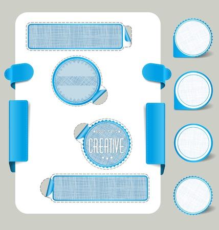 На белом фоне с синей этикетки с вкладками