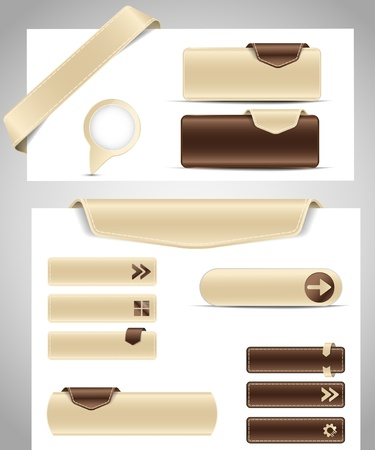 Brown set buttons for your site Vector
