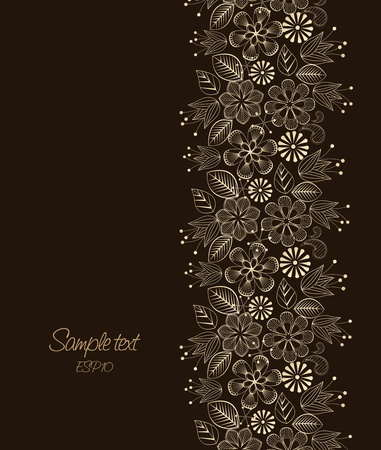 Beautiful floral illustration on brown background Stock Vector - 12476872