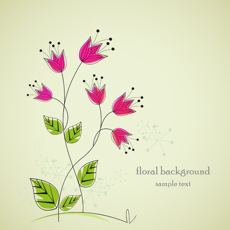 separate drawing flowers with space for text Vector