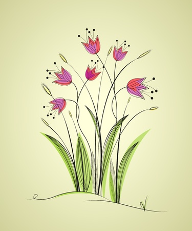 background with meadow flowers, garden Vector
