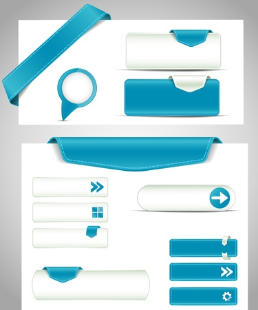 set of blue buttons, banners, bookmarks for your site Vector