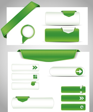 web design icon: Green set buttons for your site
