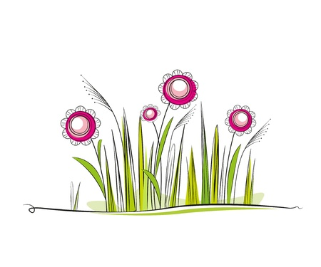grassy meadow with flowers, place for text Stock Vector - 12831957