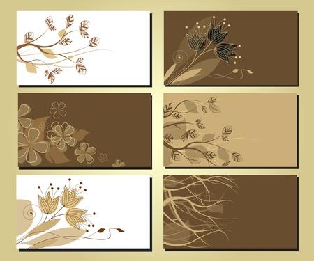 визитные карточки с цветочными мотивами и ветви деревьев