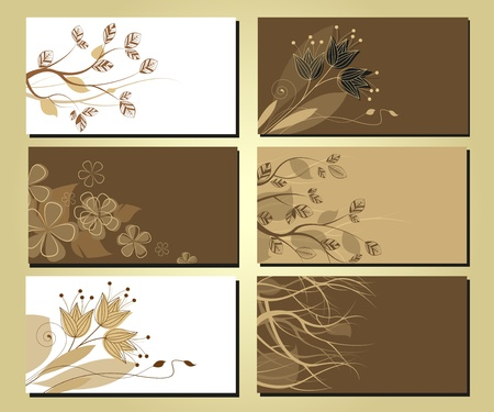 visiting: business cards with a floral motif and tree branches Illustration