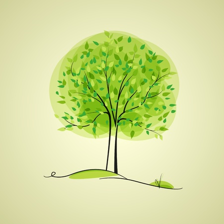 green tree in the background with place for text