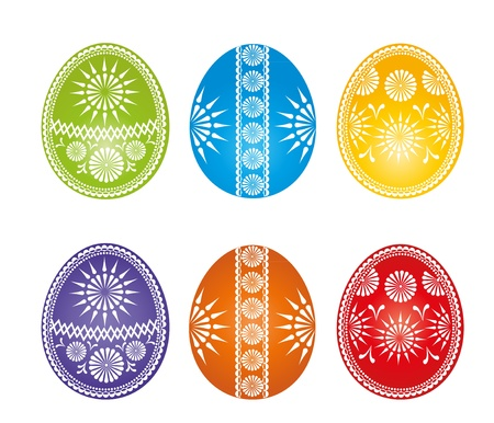 Easter eggs more colors on a white background Stock Vector - 12831961