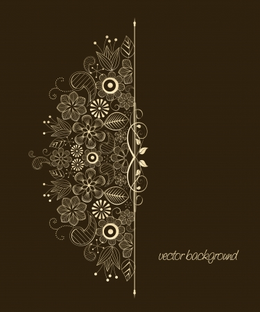 retro lace: Beautiful floral illustration on brown background Illustration