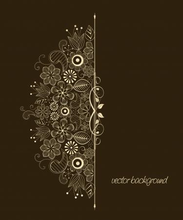 vintage grunge image: Bella illustrazione floreale su sfondo marrone