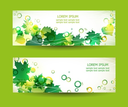 Two green banners with place for text Vector