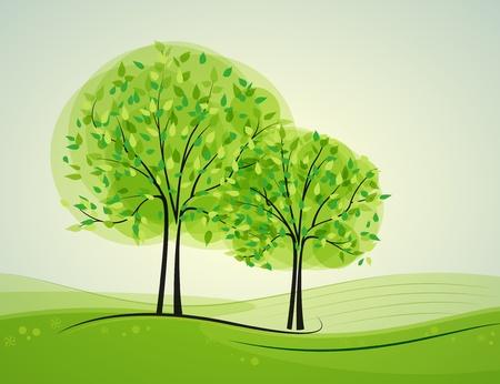paysage dessin anim�: Paysage avec des arbres � feuilles caduques dans l'arri�re-plan